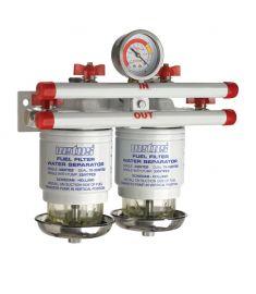 Vandudskiller / brændstof filter CE / ABYC. dobbelt. 10 micron. 190 l