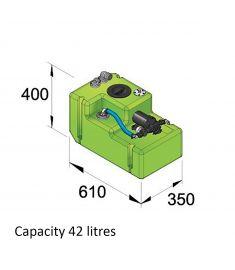 Drikkevandstank- 42 liter inkl. 12 volts pumpe og tilslutninger, komplet
