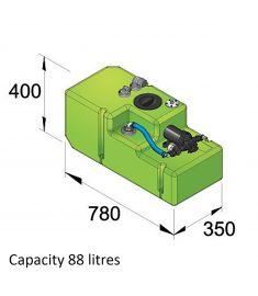 Drikkevandstank- 88 liter inkl. 12 volts pumpe og tilslutninger, komplet