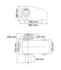 Horisontal Ankerspil - 12V - til 9-11 mm kæde - 1200W - DCW/ SD (bagbord)