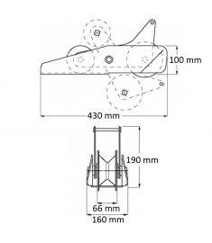"""Bov vippe rulle fra Vetus - anbefalet til tov/kæde op til 1/2"""" (13 mm) - udført i rustfri stål AISI316"""
