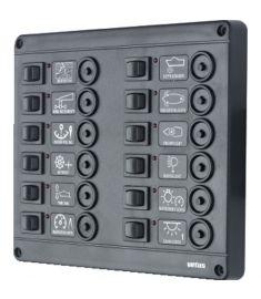 Kontaktpanel type P12 med 12 termosikringer 24 Volt