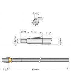 25 mm - L:2000 mm - Propelaksel med møtrik og anode