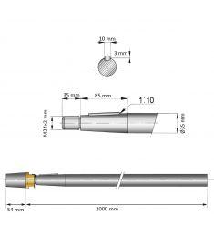 35 mm - L:2000 mm - Propelaksel med møtrik og anode