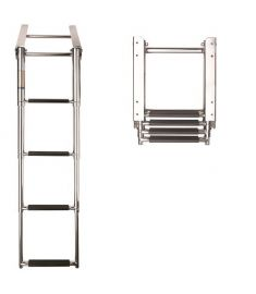 Ladder telescopic 4 steps, SS316 f. platform, synthetic black grips