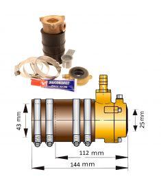Vetus pakdåse og bronze inderleje med dobbeltlæbe til Ø25mm aksel og Ø43 mm stævnrør