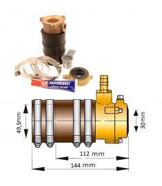 Vetus pakdåse og bronze inderleje med dobbeltlæbe til Ø30mm aksel og Ø49,5 mm stævnrør